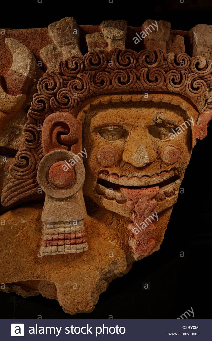 The Aztec earth mother goddess Tlaltecuhtli. - Stock Image