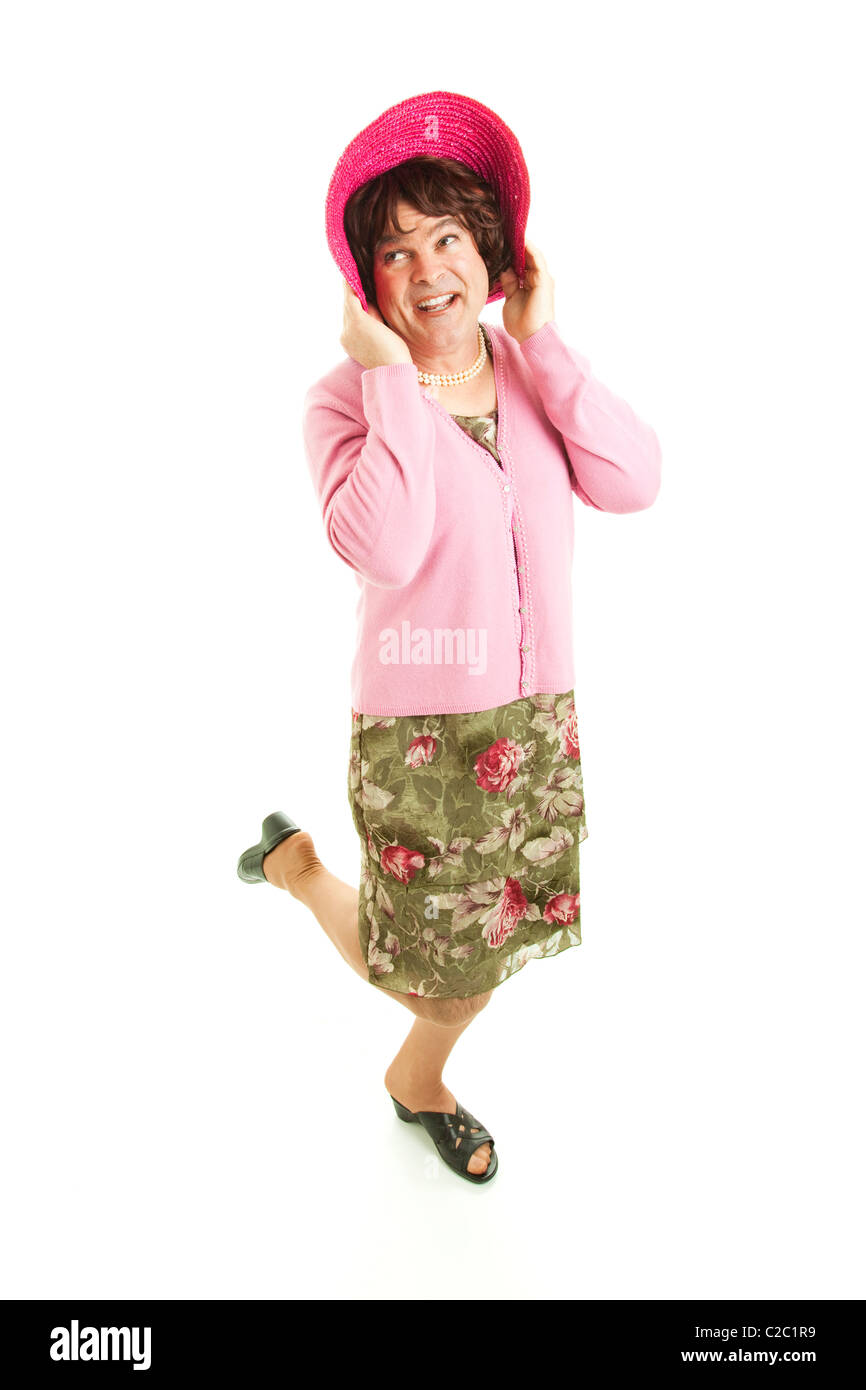 41232d8f81 Humorous photo of a man dressed as a woman. Full body