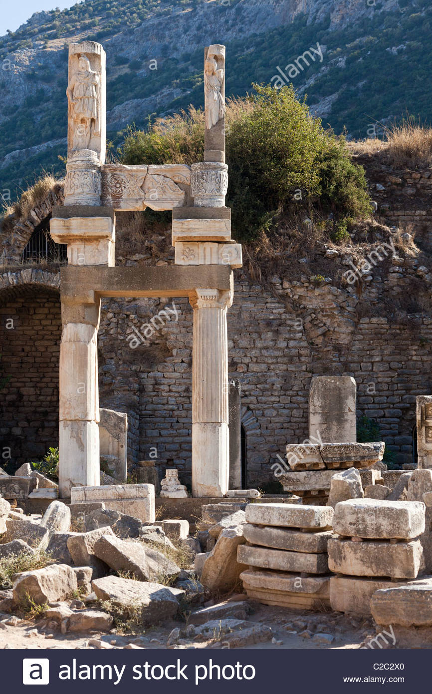 Well-preserved ruins of the Temple of Domitian. - Stock Image