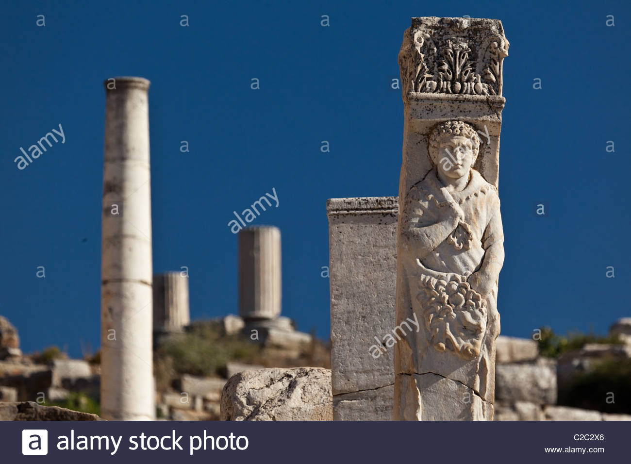 A well-preserved statue at the Gate of Hercules. - Stock Image