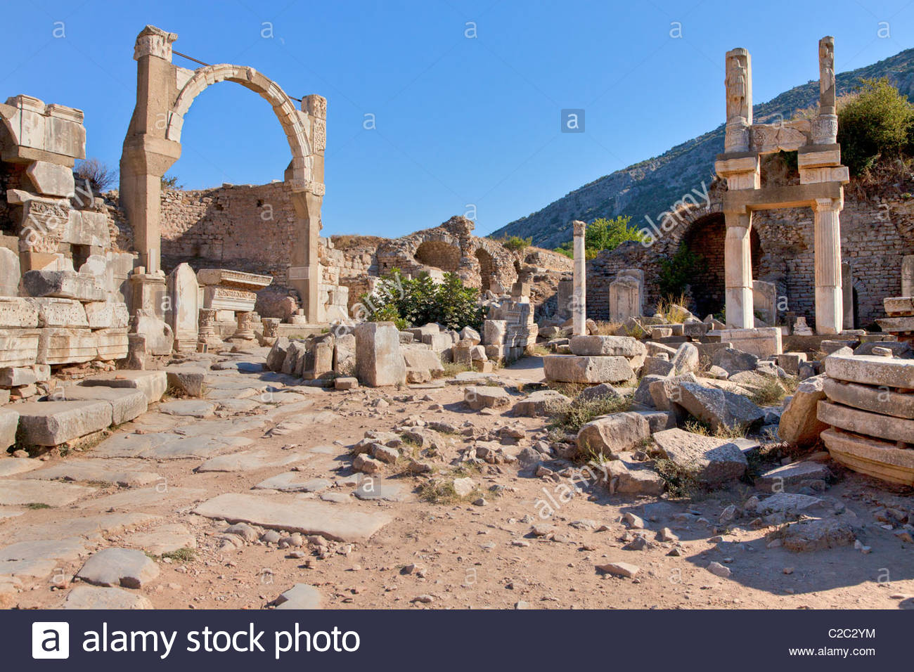 The well-preserved ruins of the Fountain of Pollio at Ephesus. - Stock Image