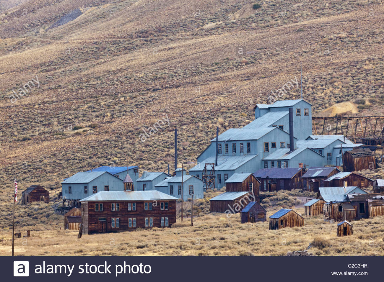 Preserved buildings in an alpine ghost town. - Stock Image