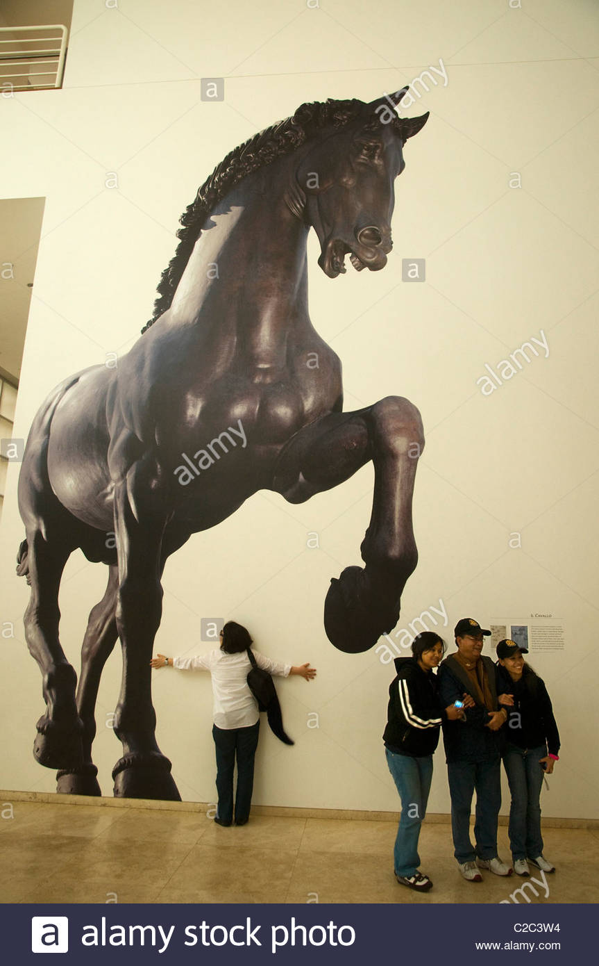 Visitors at an exhibition in the Getty Museum. - Stock Image