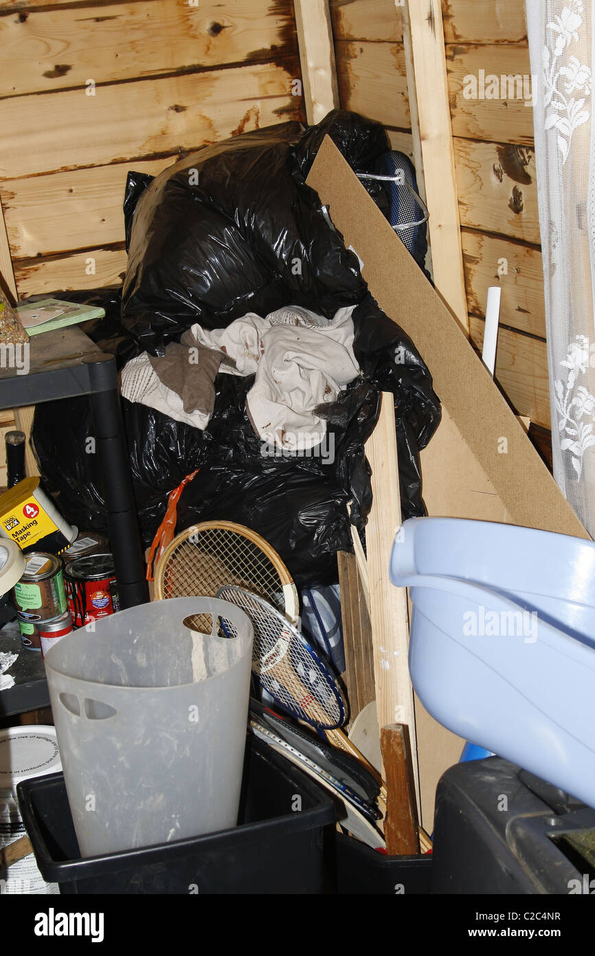 junk in garden shed - Stock Image