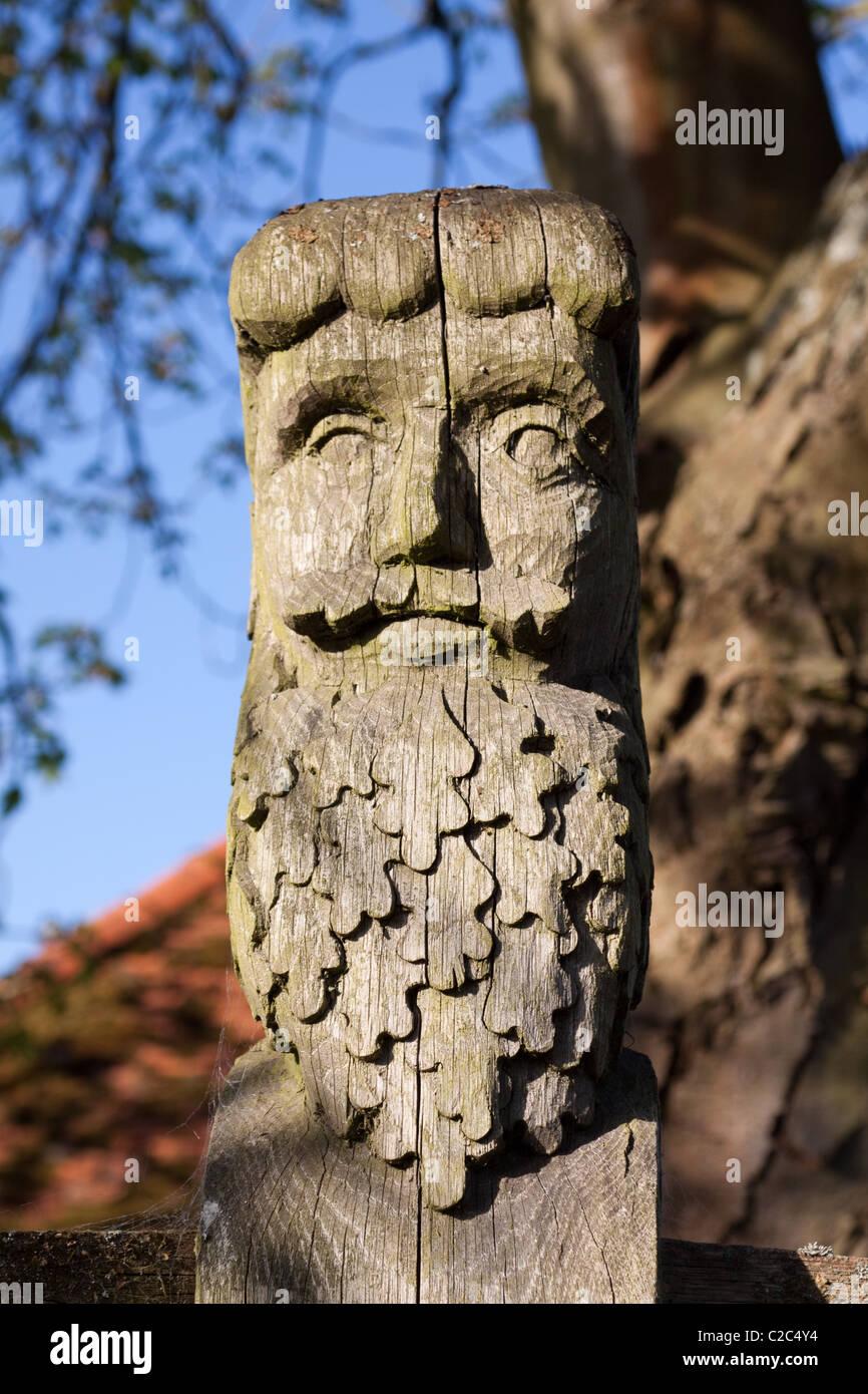Carved wooden street sign in Little Missenden - Stock Image