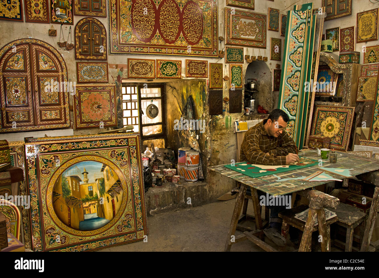 Damascus Syria Bazaar Souk Souq Painting Sign Furniture Shop   Stock Image