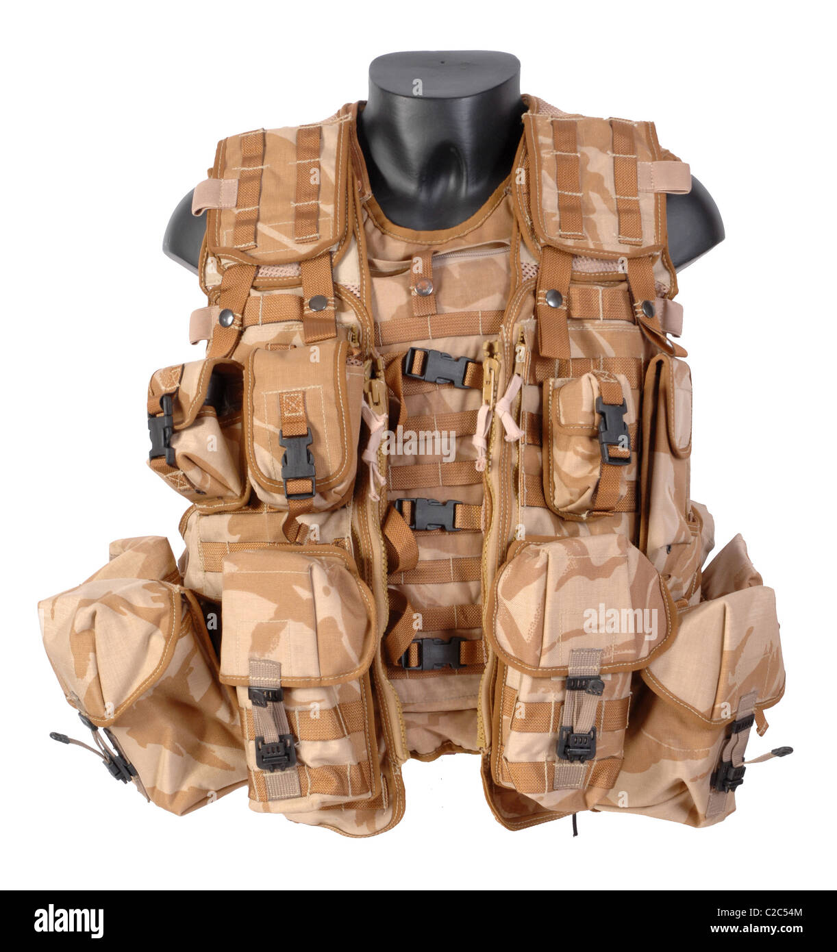 Osprey Mk II body armour vest. Worn over the armour is the Vest, Tactical, Load Carrying designed to be worn with - Stock Image