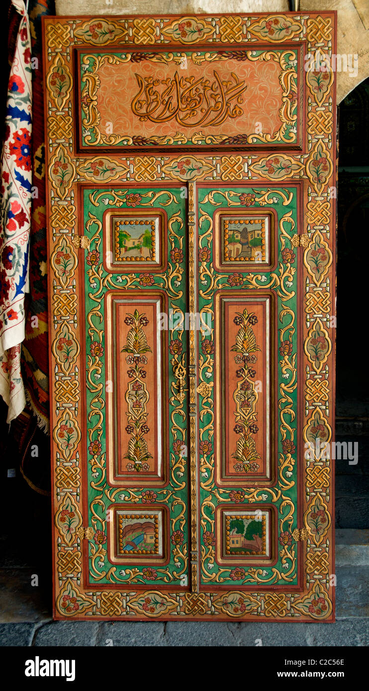 Damascus furniture painting painter paint  Syria Bazaar Souk Souq market shop Stock Photo