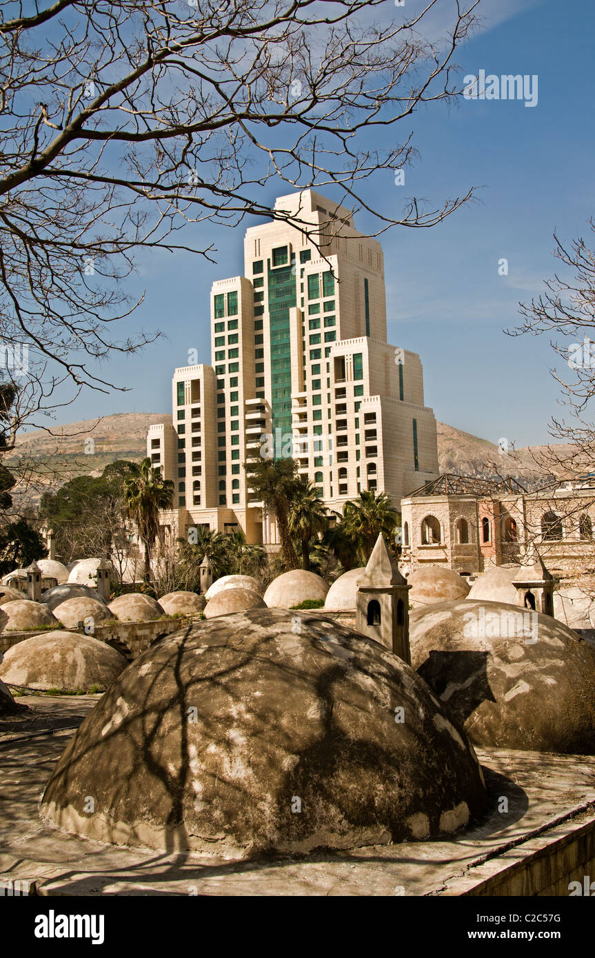 Four Seasons Hotel and Takiyya as Suleimaniyya a turkish style mosque Damascus Town City Syria Syrian Stock Photo