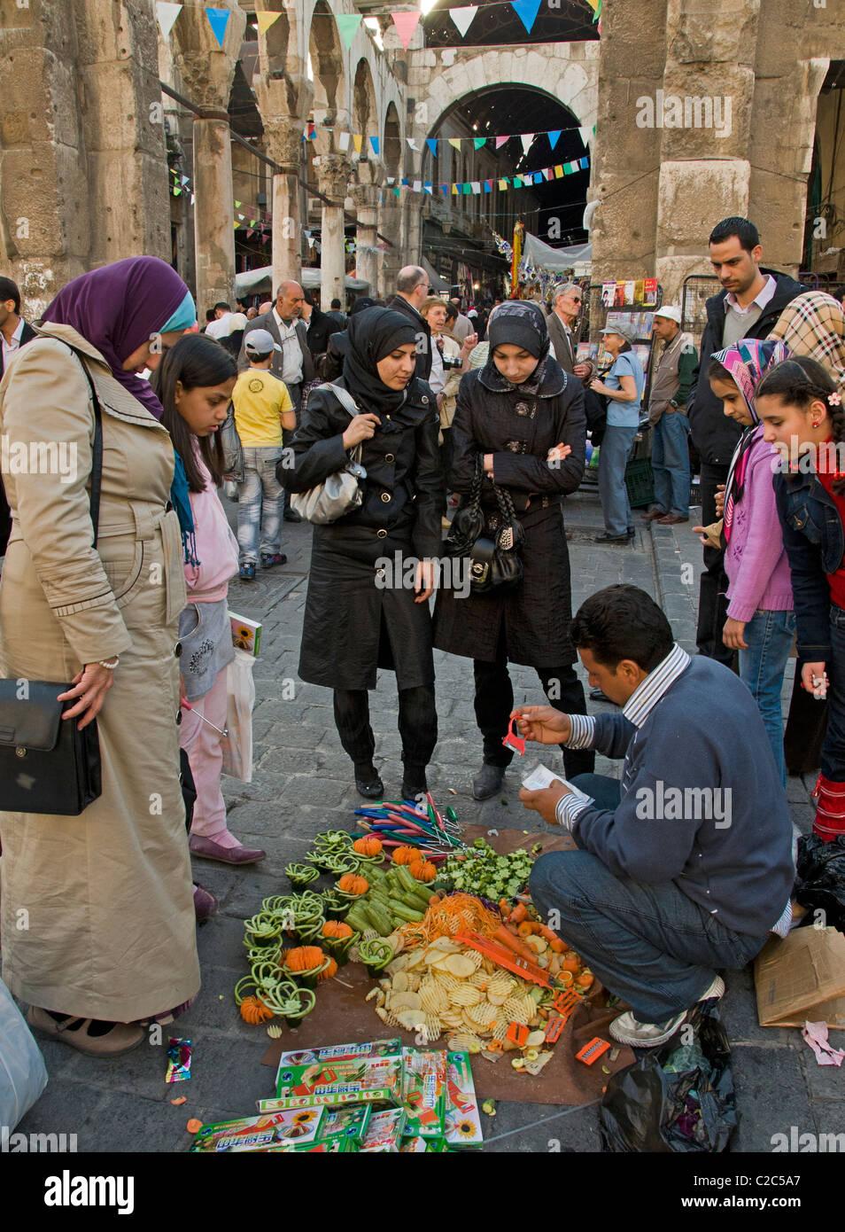 Damascus Syria Bazaar kitchen cutter vegetables fruit  Souq market - Stock Image
