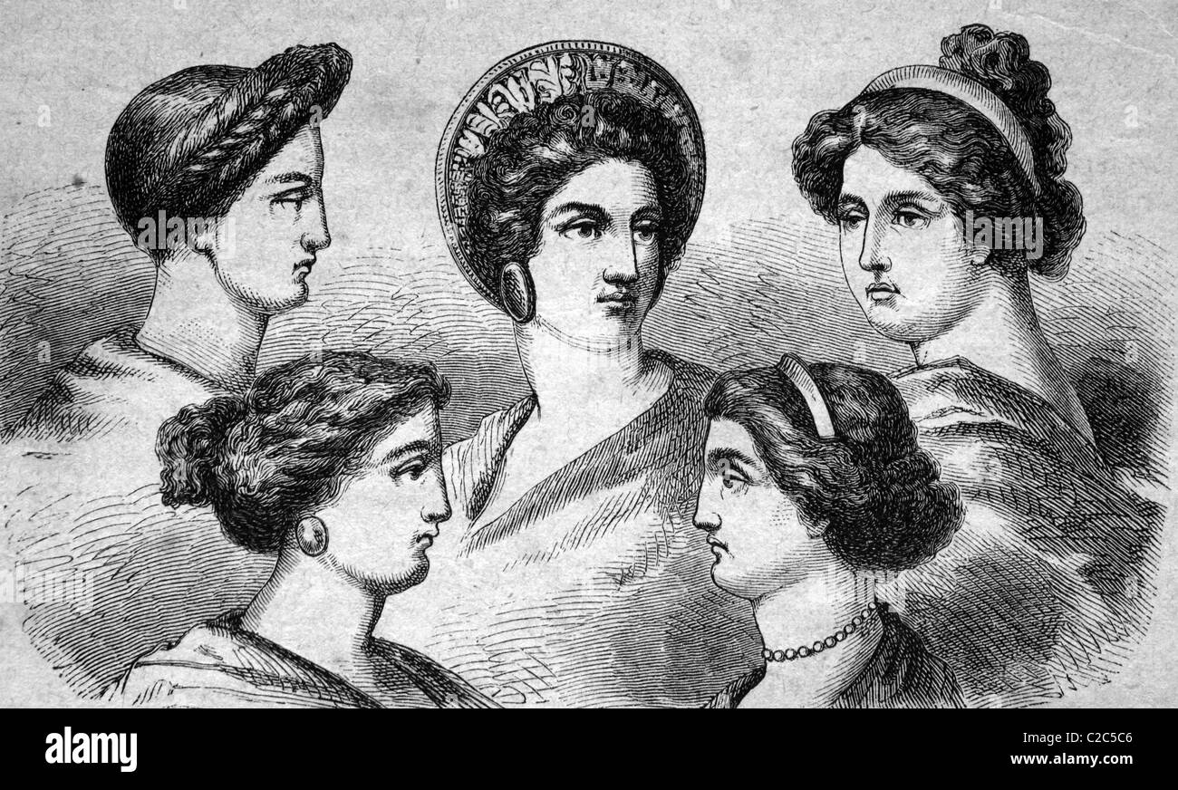 Greek hair styles, historical illustration, circa 1886 - Stock Image