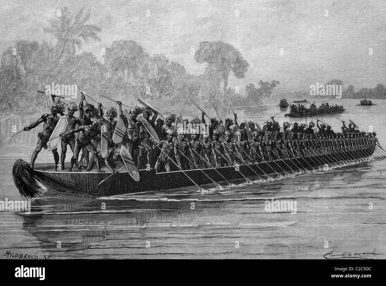 Large war canoe of the Congolese people on the Aruwimi River, historical illustration, circa 1886 - Stock Image