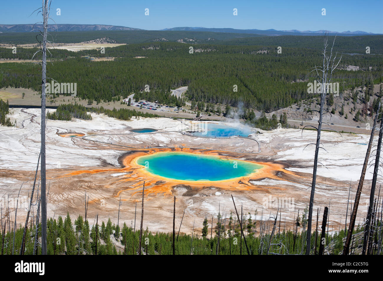 GRAND PRISMATIC Largest (and most colorful) geothermal spring in Yellowstone National Park, Wyoming, USA. - Stock Image
