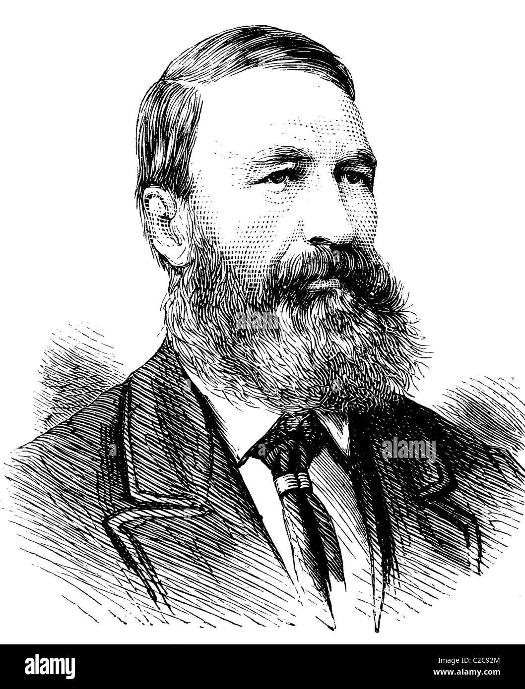 P F Foubert, supreme commander of the Transvaal Republic, historical illustration, circa 1886 - Stock Image