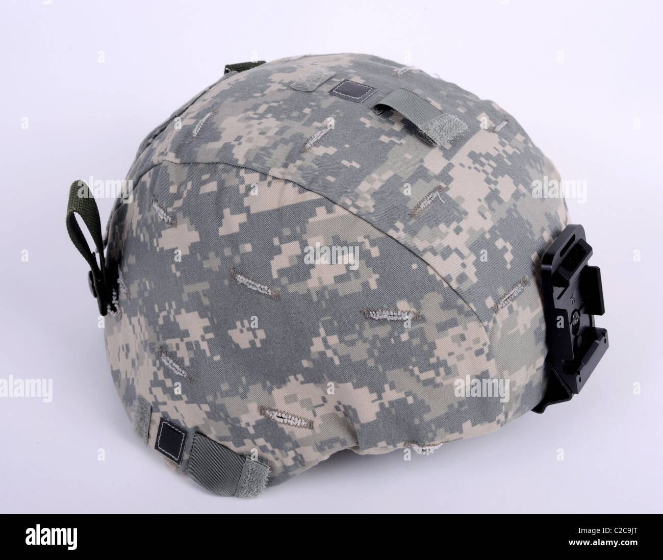 21st century helmet, the American ACH (Advanced Combat Helmet). The helmet is worn with the UCP camo cover. This - Stock Image