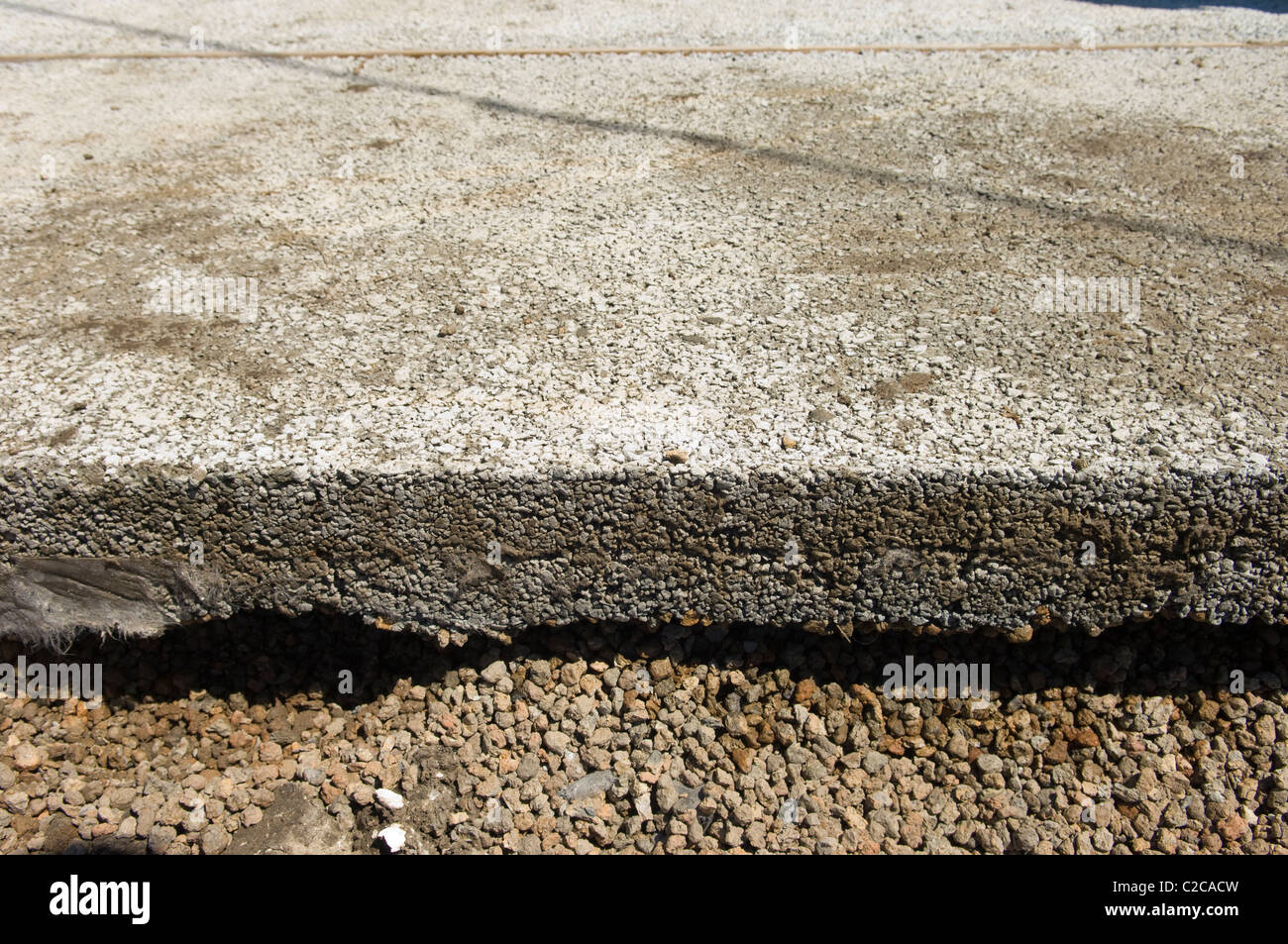 First pervious concrete pour in a public street in New Orleans, 9th Ward 2011. Project Capstone. - Stock Image