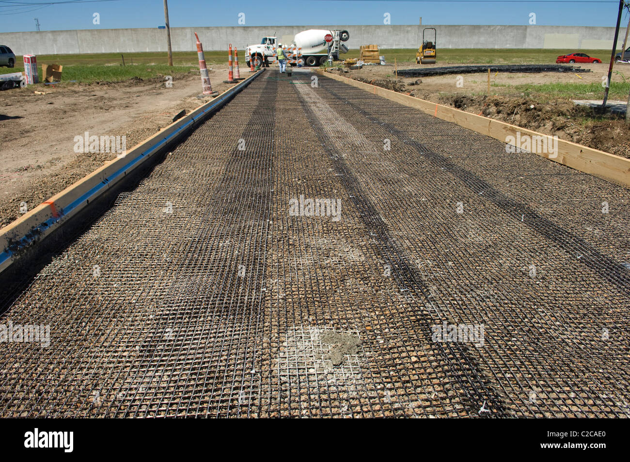 First pervious concrete pour in a public street in New Orleans, 9th Ward 2011. Project Capstone - Stock Image
