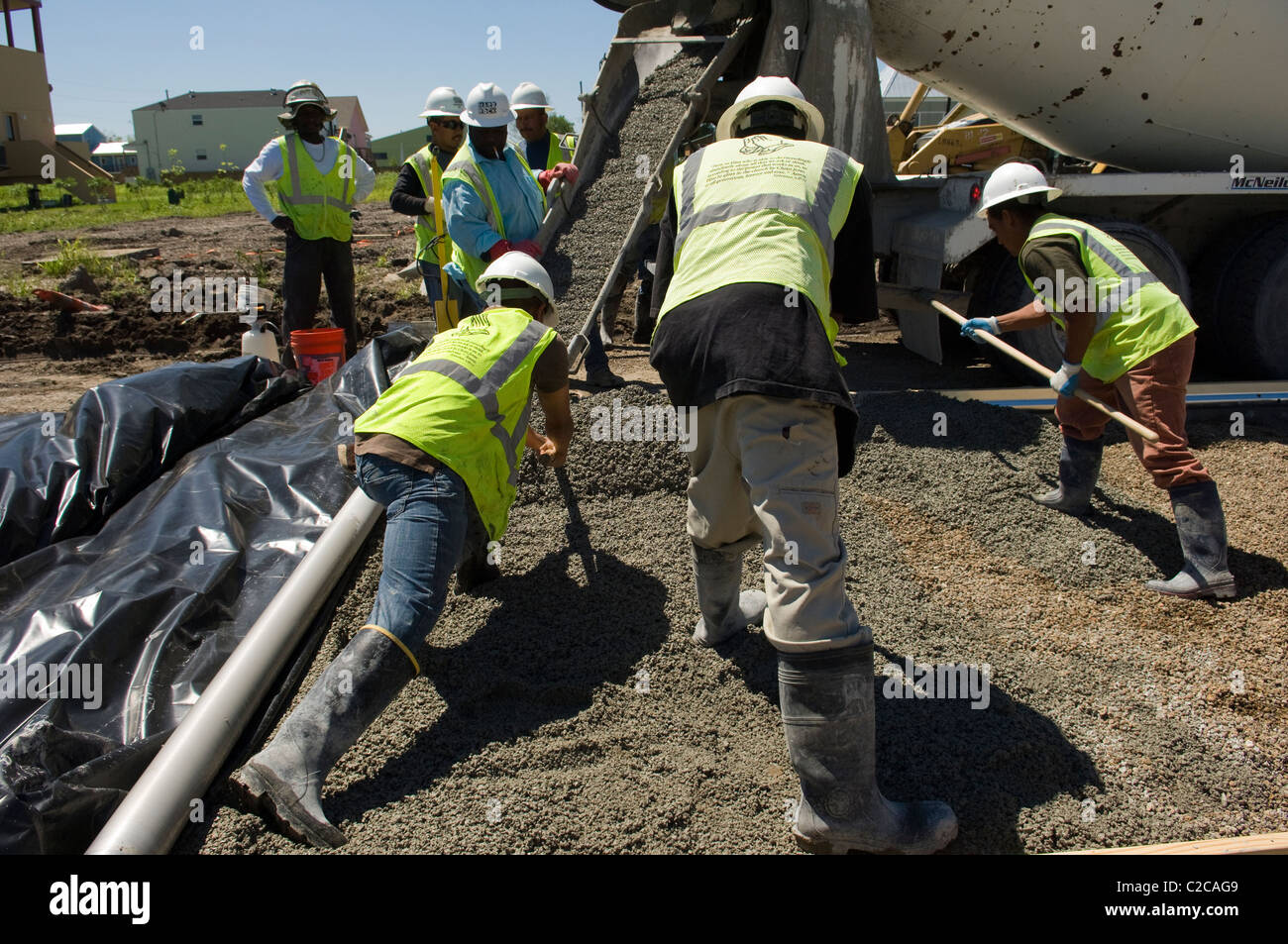First pervious concrete pour in a public street in New Orleans, 9th Ward 2011 - Stock Image