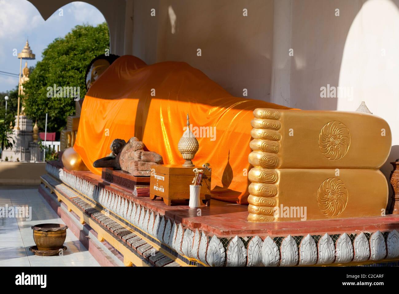Nirvana Buddha stature in Wat Chai Mongkol,  standardization image of Buddha`s foot. Lampang Thailand - Stock Image