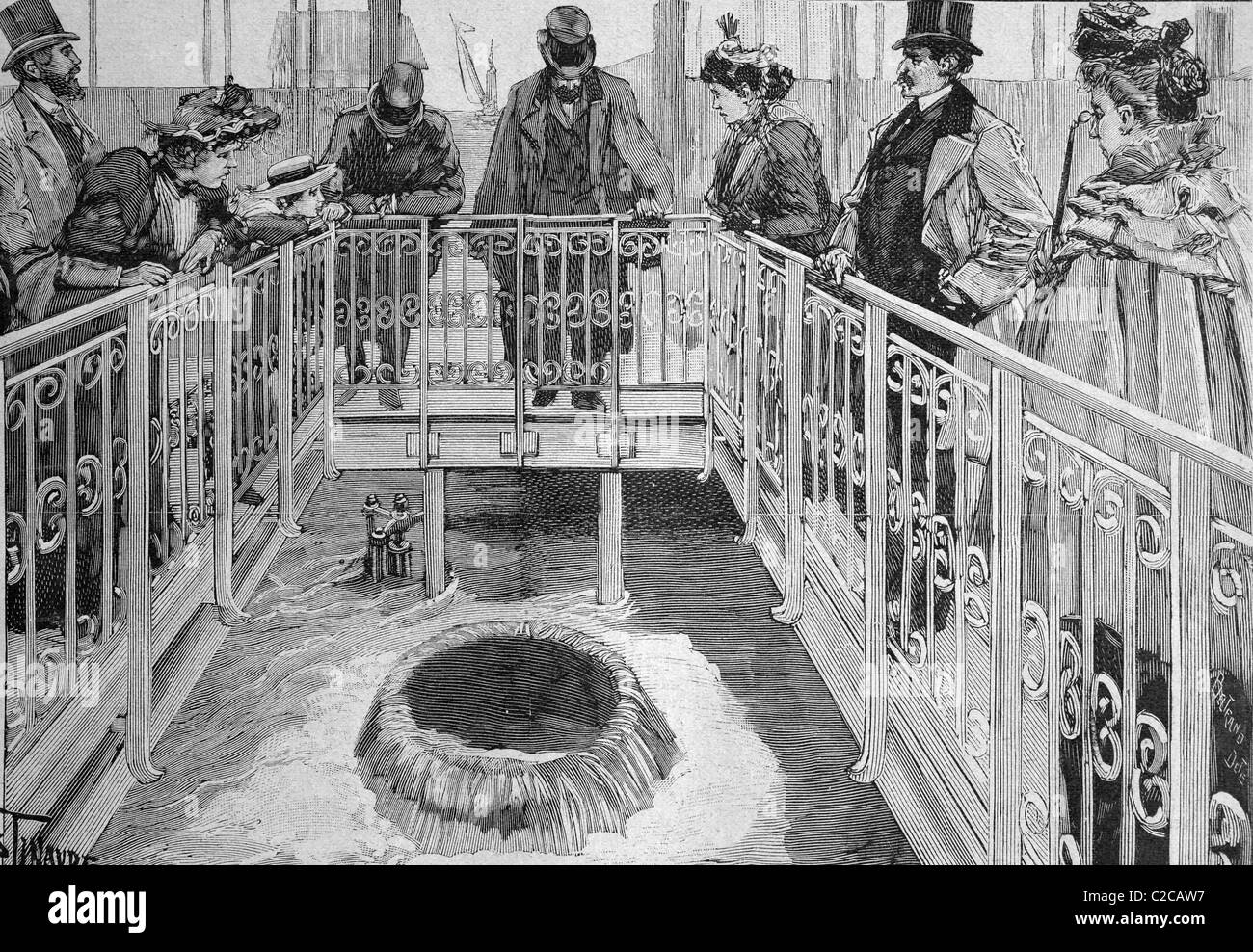 Inauguration of the new water supply line, Paris, France, historical picture, about 1893 - Stock Image