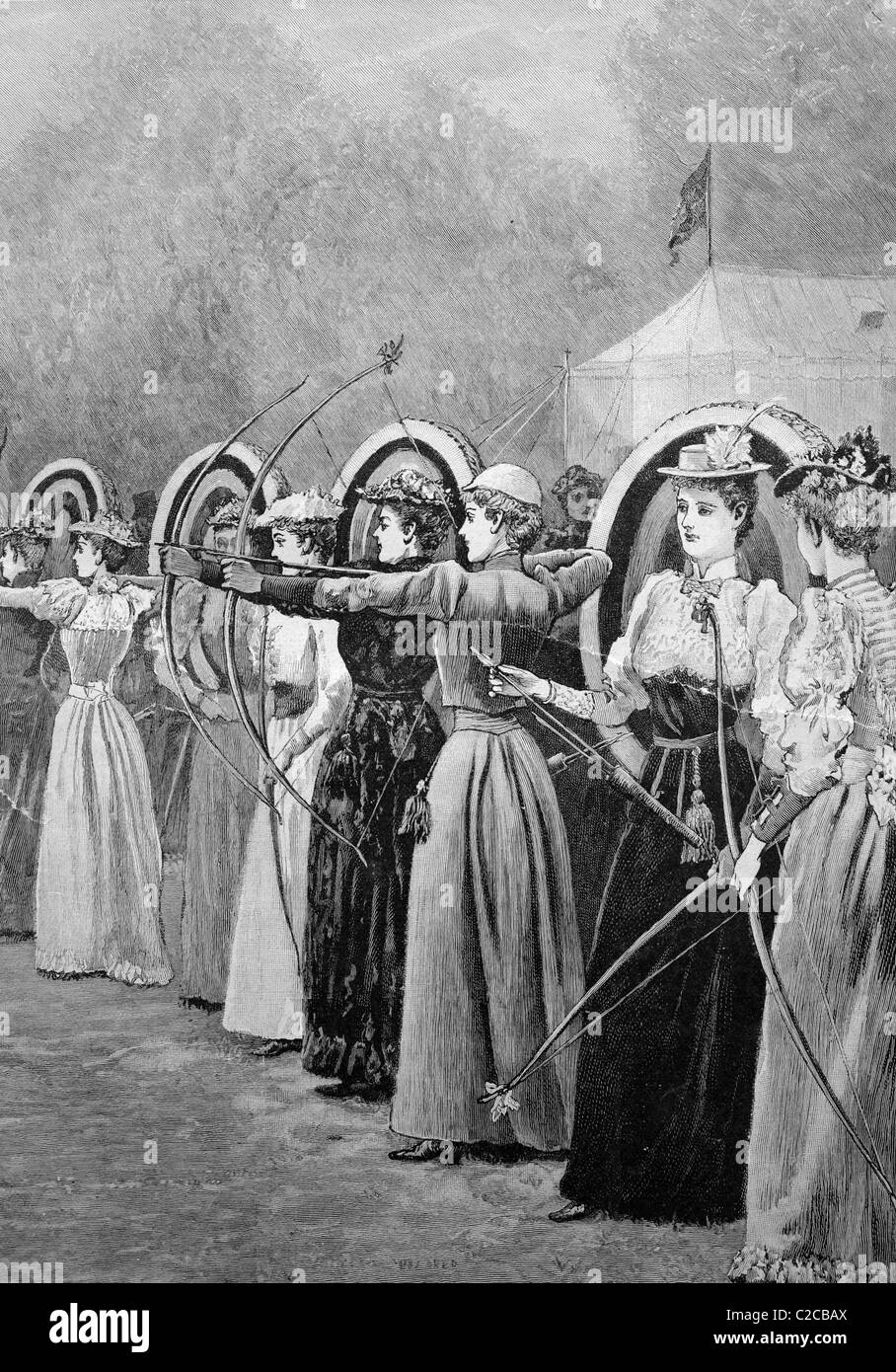 Women's competition in archery in Regent Park in London, England, historical illustration, ca. 1893 Stock Photo