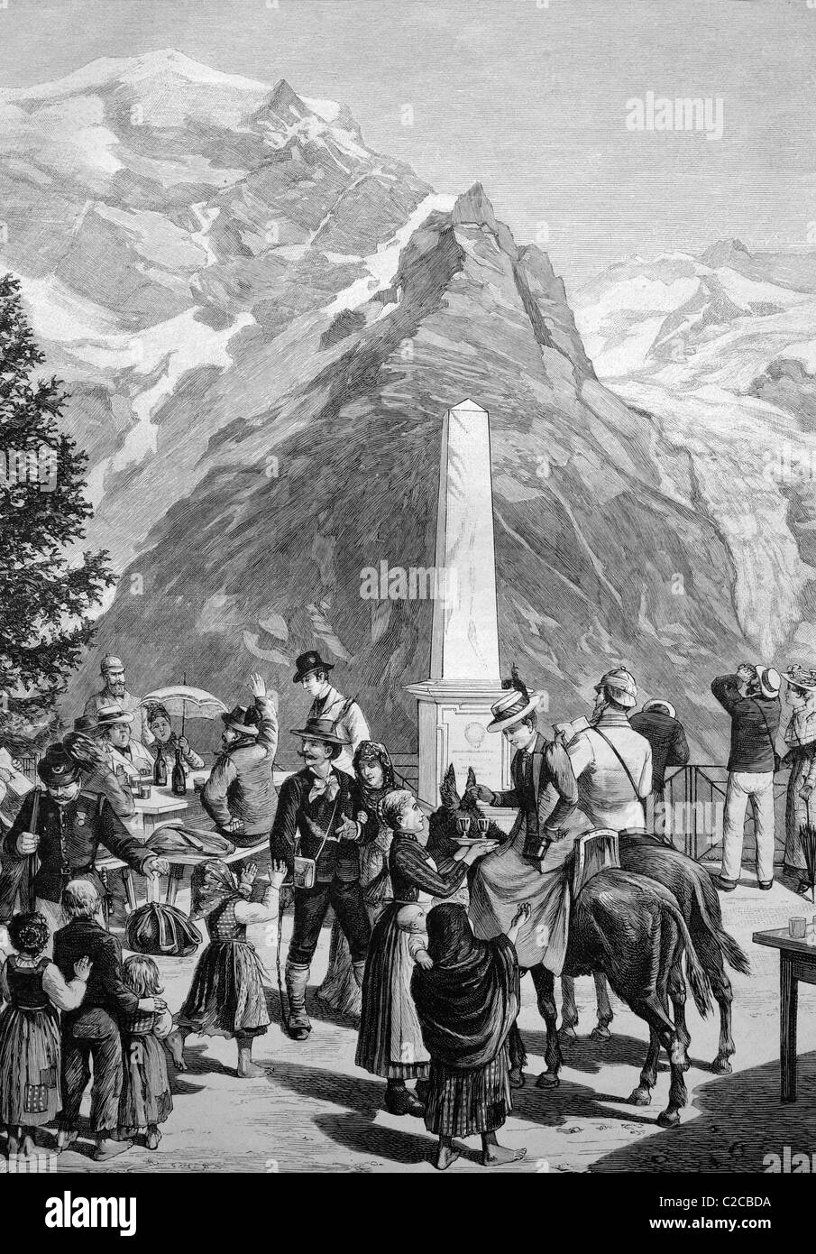 Travellers pausing at the White Knott on the Stelvio Pass, Italy, historical illustration, ca. 1893 - Stock Image