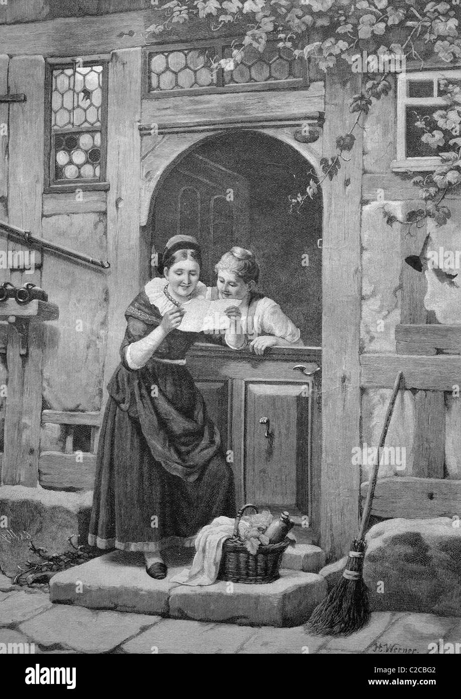 Love letters, historical illustration, ca. 1893 - Stock Image