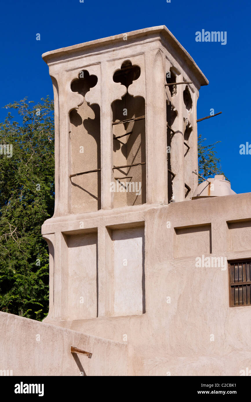 Ventilation wind tower in the Bastakia quarter of Dubai, UAE. - Stock Image