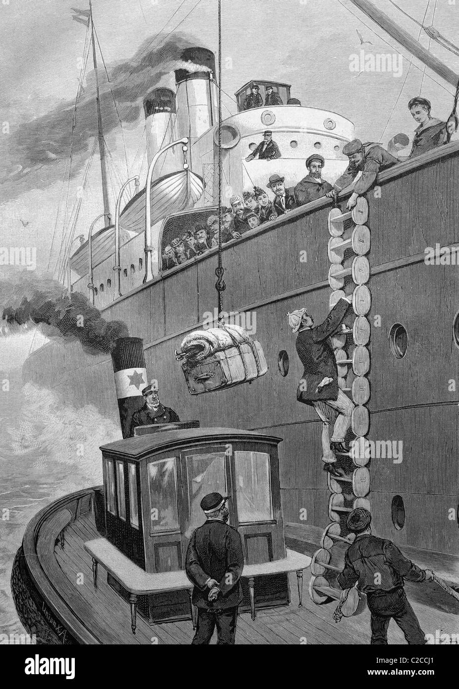 Delayed passengers boarding a ship, historical illustration, ca. 1893 - Stock Image