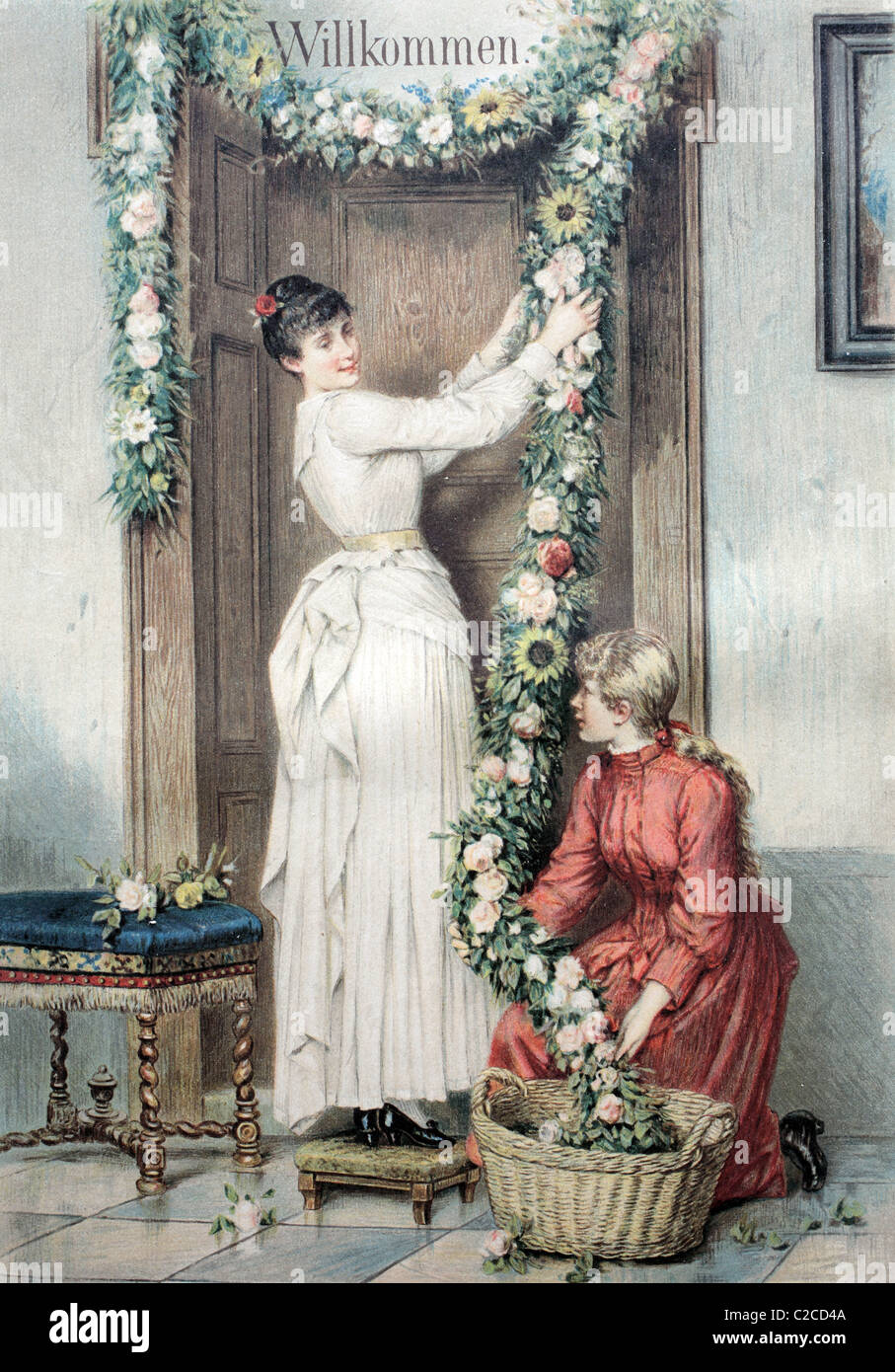 Welcome decoration are hung over a door, historical illustration circa 1893 - Stock Image