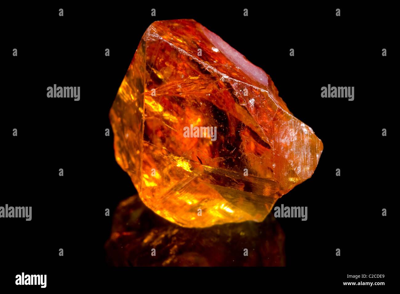 Citrine (yellow quartz) (SiO2+Fe) crystal - Stock Image