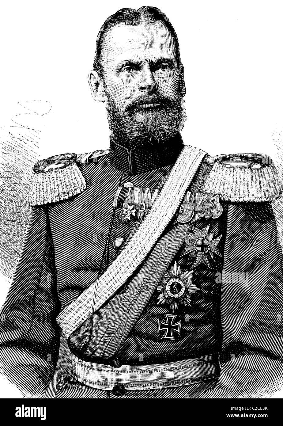 Prince Leopold of Bavaria, 1846 - 1930, German Field Marshal, historical illustration circa 1893 - Stock Image