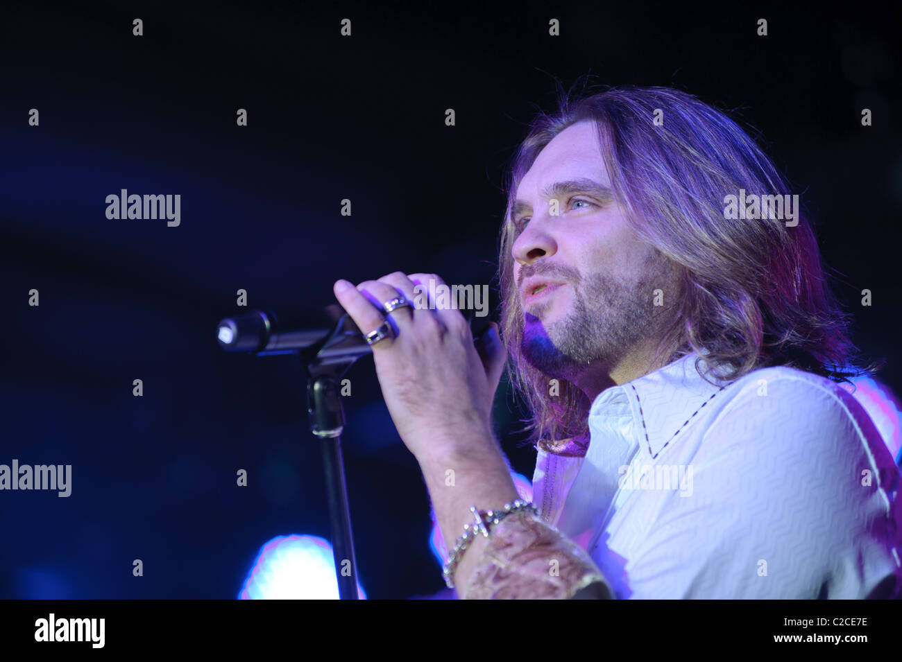 April 08, 2011, Sacramento, CA - Bo Bice performs on stage at Thunder Valley Casino in Rocklin, CA Stock Photo