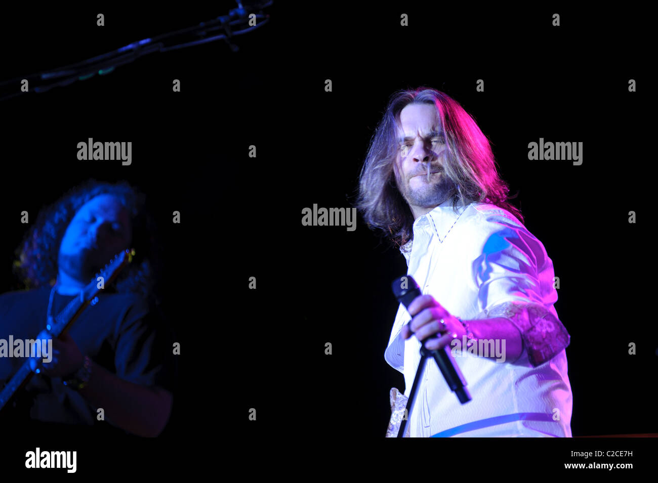 April 08, 2011, Sacramento, CA - Bo Bice performs on stage at Thunder Valley Casino in Rocklin, CA - Stock Image