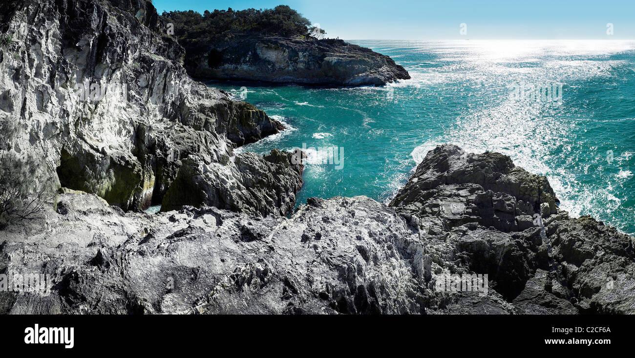 Rocky shoreline Stradbroke Island Queensland Australia - Stock Image