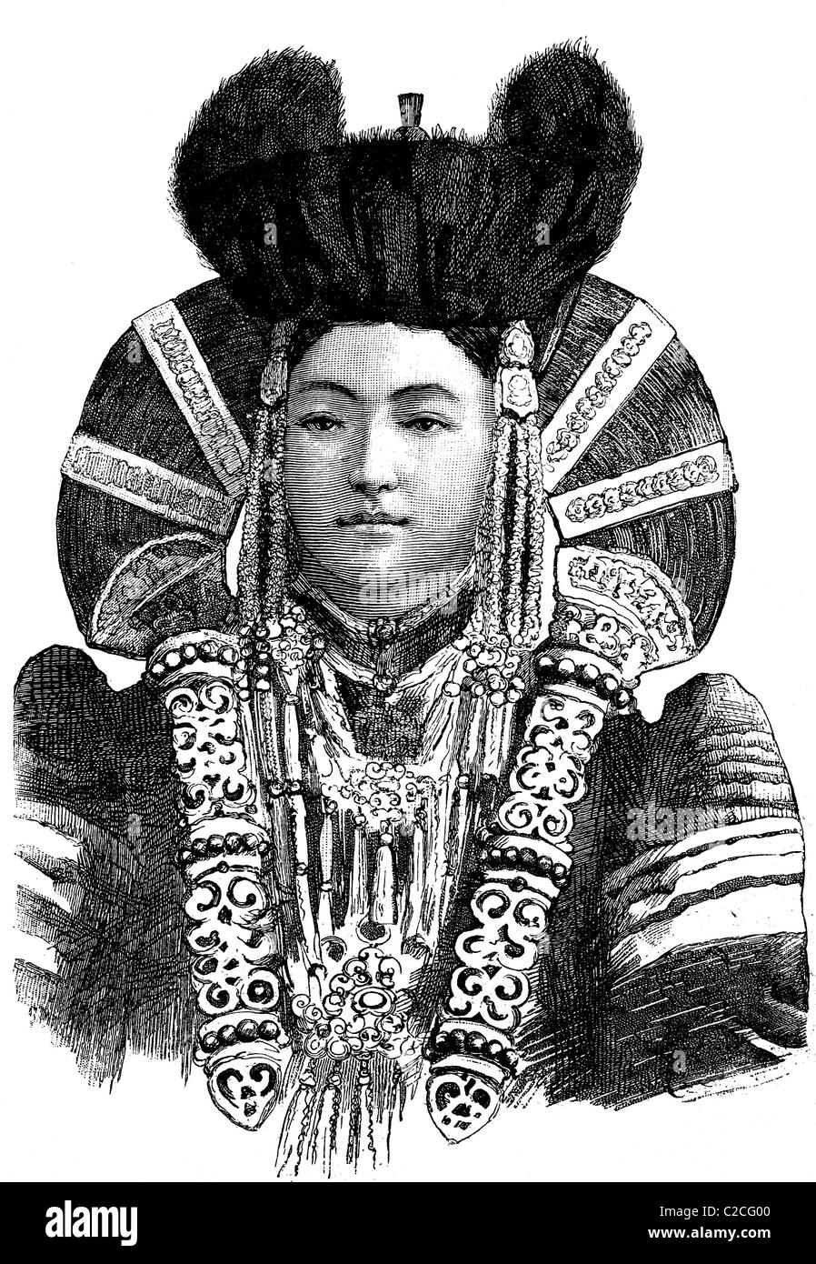 Women from Urga, Mongolia, historical illustration circa 1893 - Stock Image