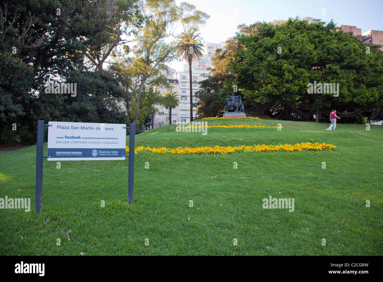 A small park in Recoleta, Plaza San Martin de Tours, Buenos Aires, with its own Facebook page - Stock Image