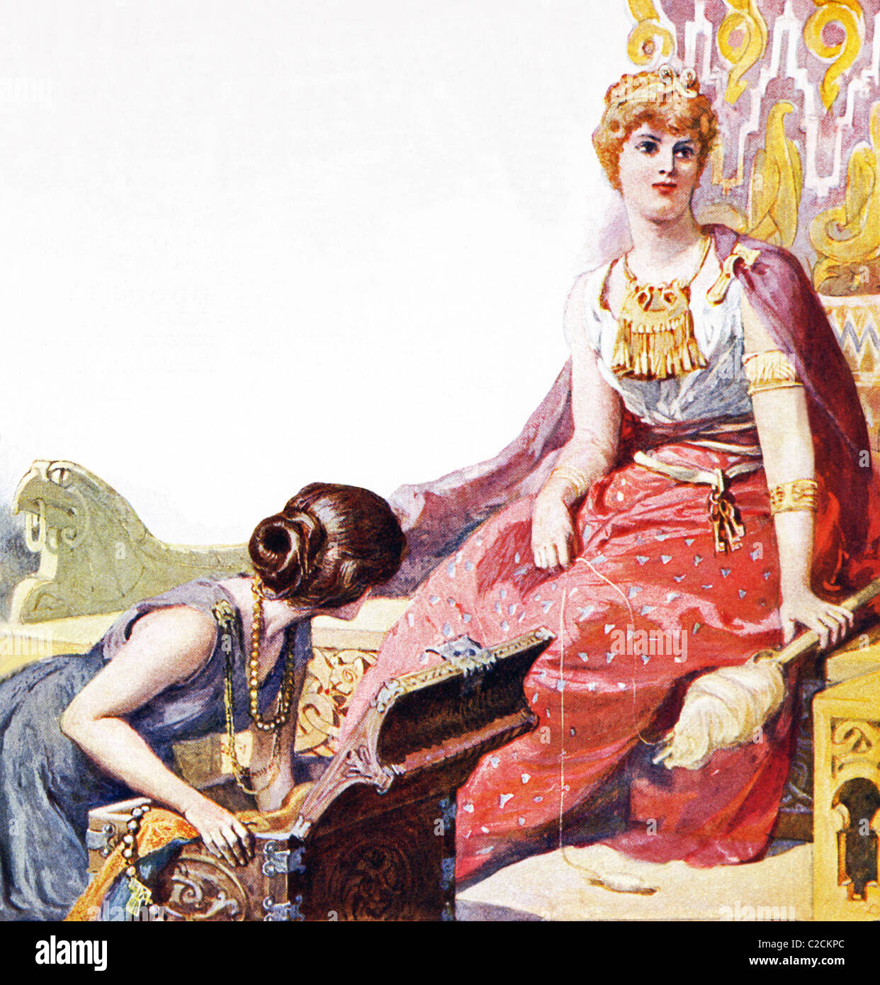 According to Norse mythology, the goddess Fulla (left) attended Frigg, patron of motherhood and wife of the powerful - Stock Image