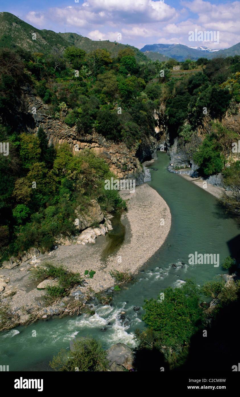 Alcantara Gorges Sicily Italy - Stock Image
