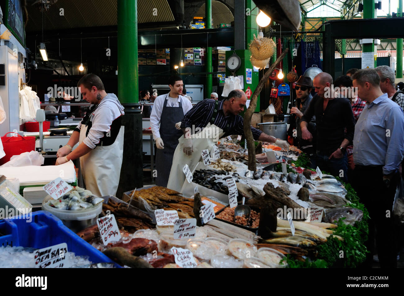 Fishmongers stall at Borough Market, Southwark, London, England, UK - Stock Image
