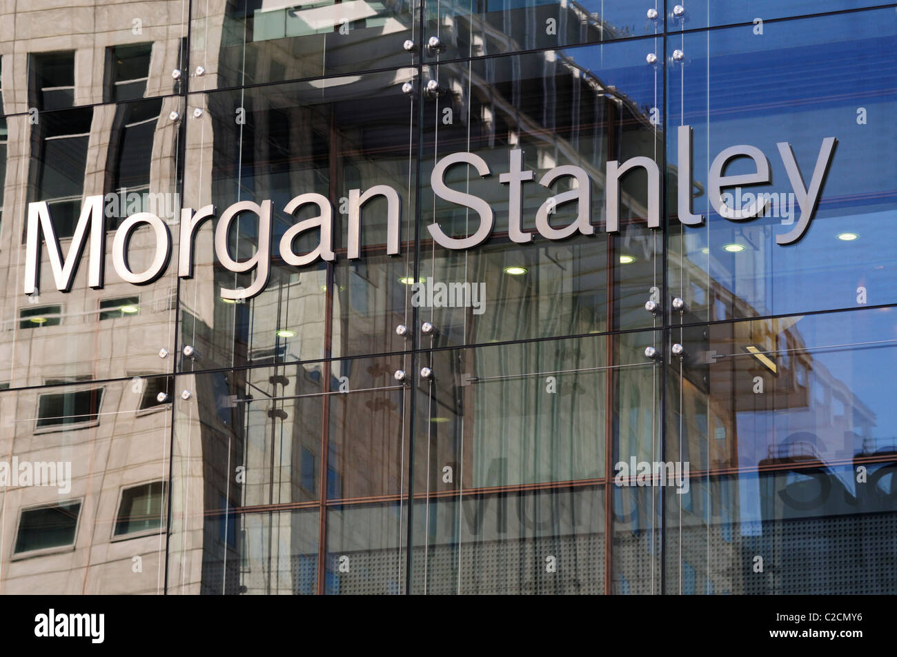 Morgan Stanley Financial Services Company Sign, Canary Wharf Stock