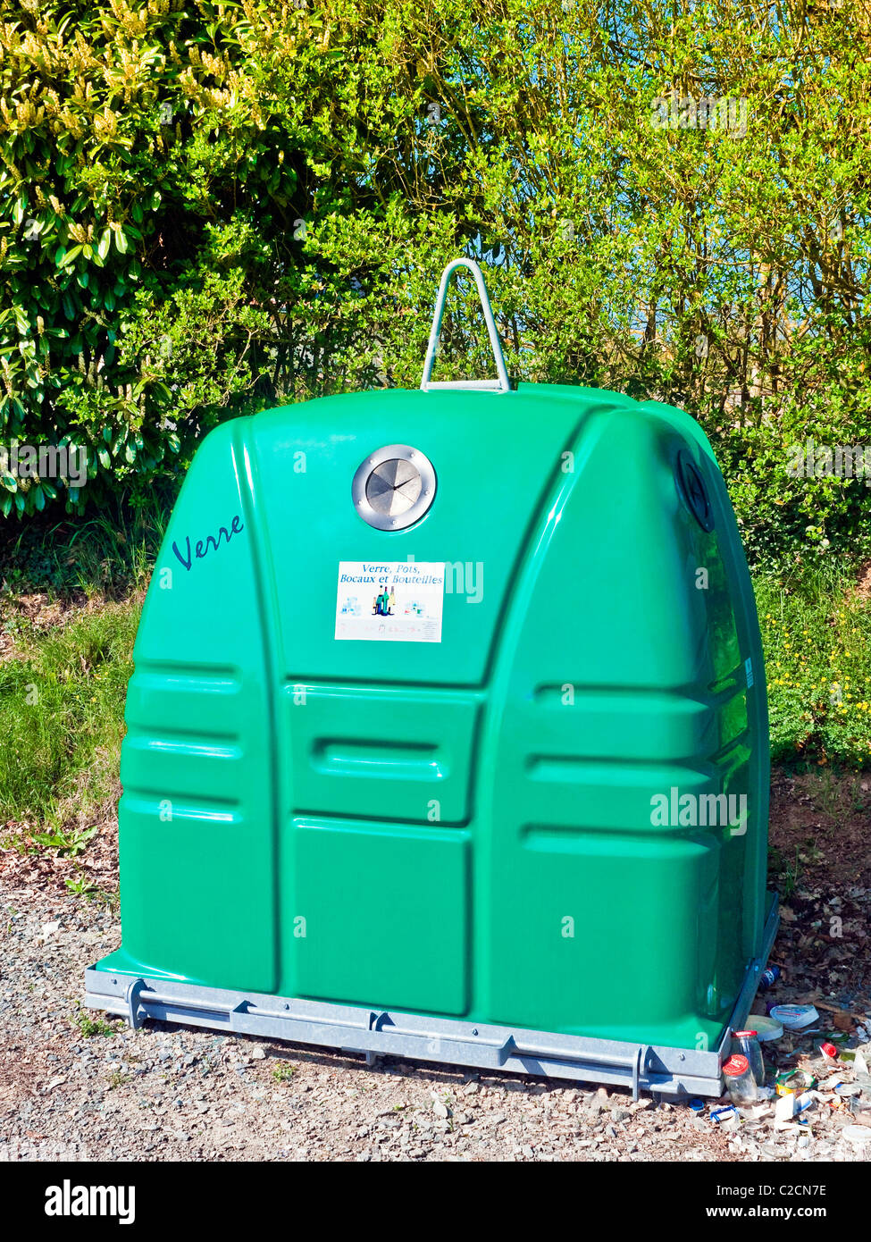 New Bottle Bank container - France. - Stock Image