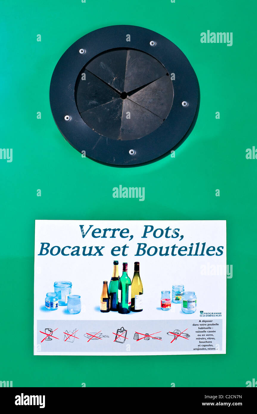 Information panel on new Bottle Bank container - France. - Stock Image