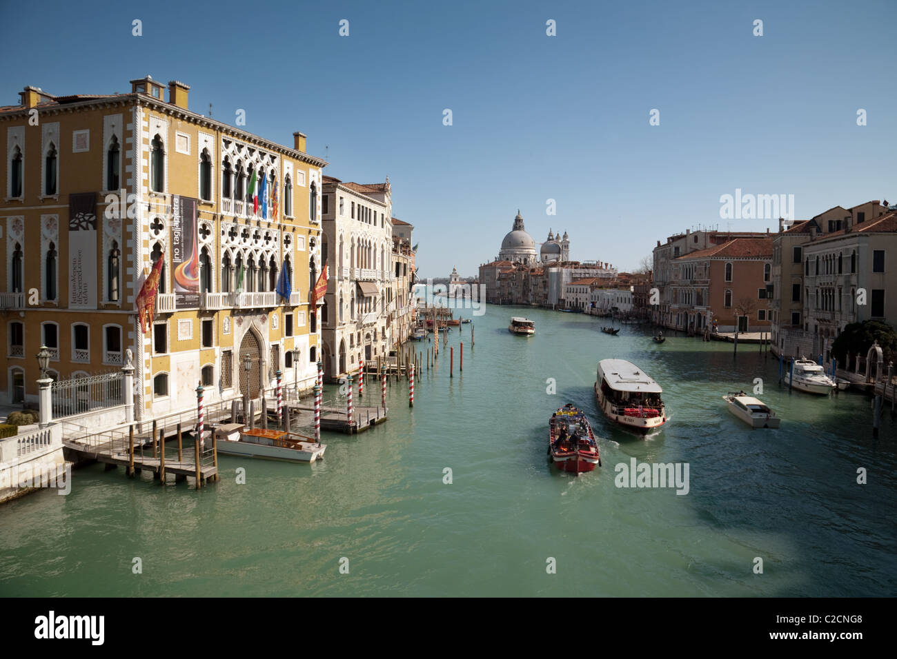The Grand Canal at Accademia, Venice Italy in Spring - Stock Image