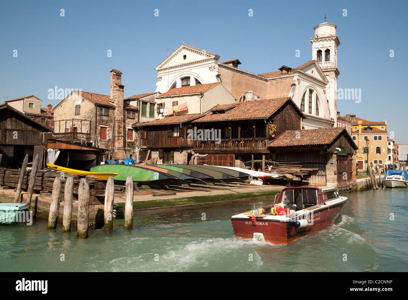 A gondola boatyard on the banks of a canal, Venice, Italy - Stock Image