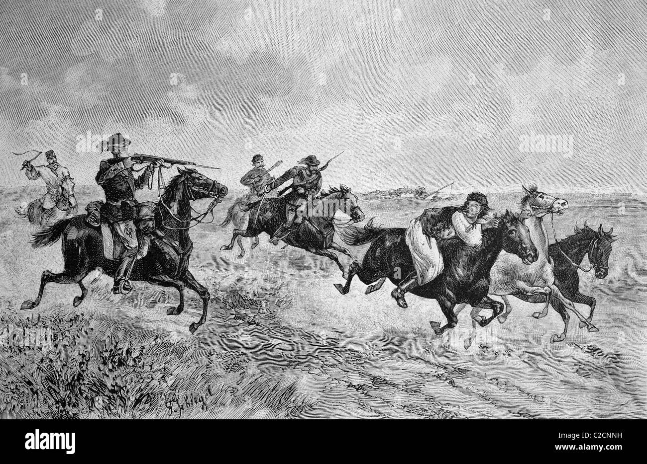 Pursuit of a horse thief in Hungary, historical illustration circa 1893 - Stock Image
