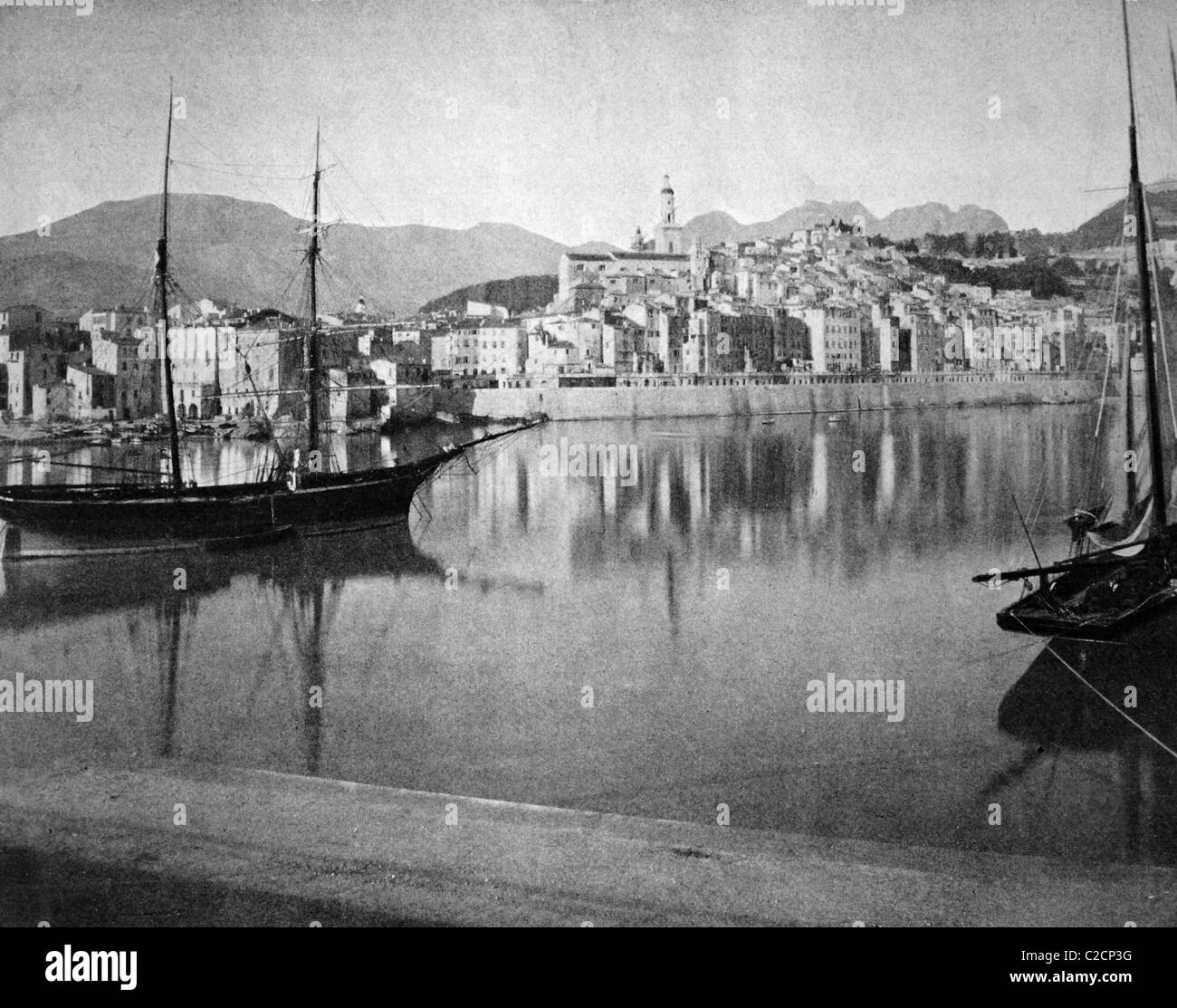 One of the first autotypes of Menton, France, historical photograph, 1884 - Stock Image