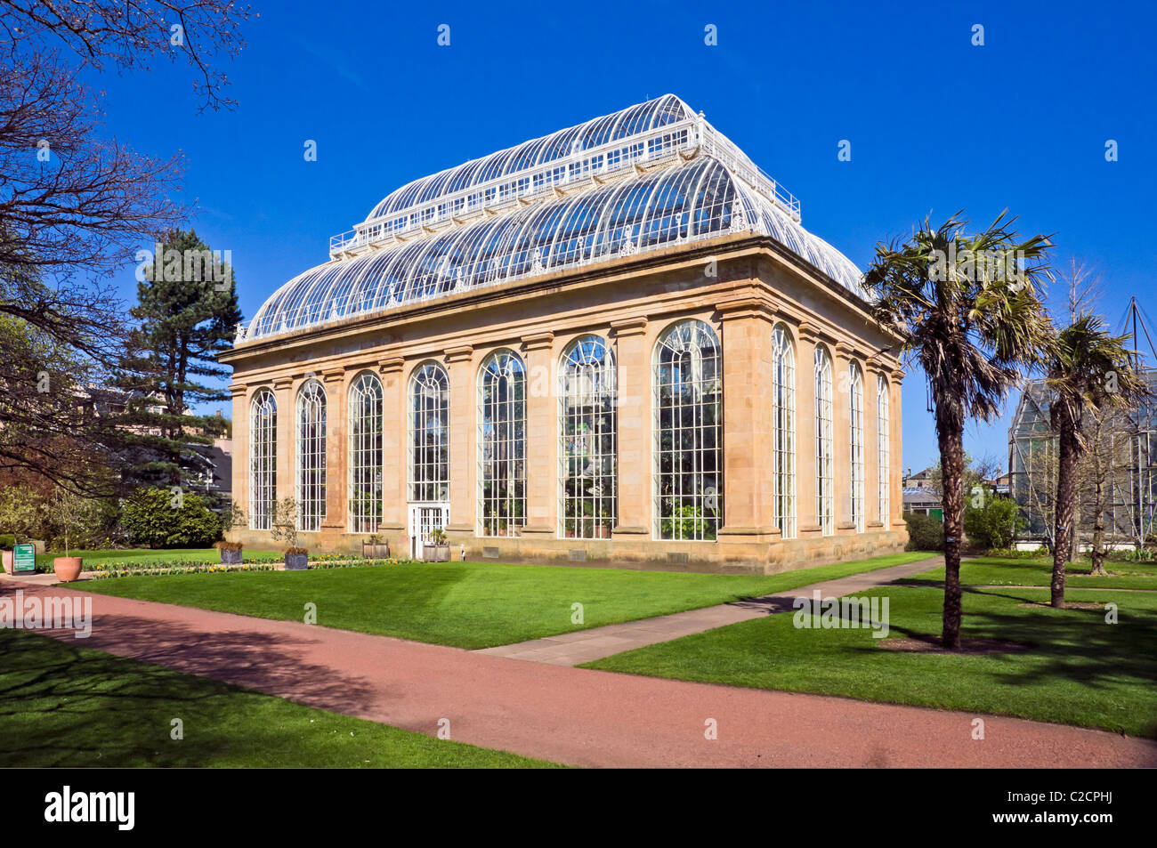 Palm House and entrance to glasshouses in The Royal Botanic Garden in Edinburgh Scotland - Stock Image