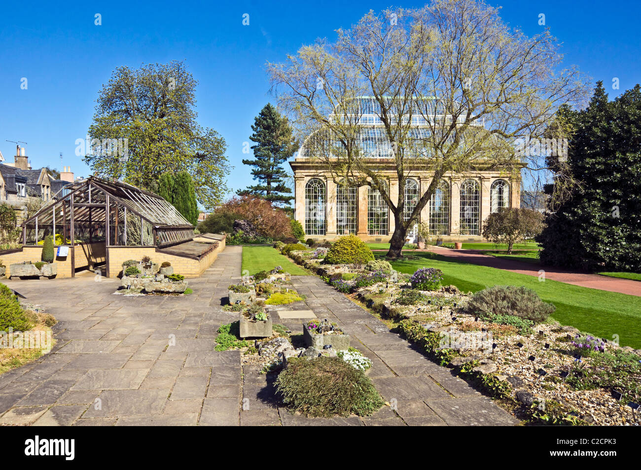 Alpine House and courtyard in front of Palm House in The Royal Botanic Garden in Edinburgh Scotland - Stock Image