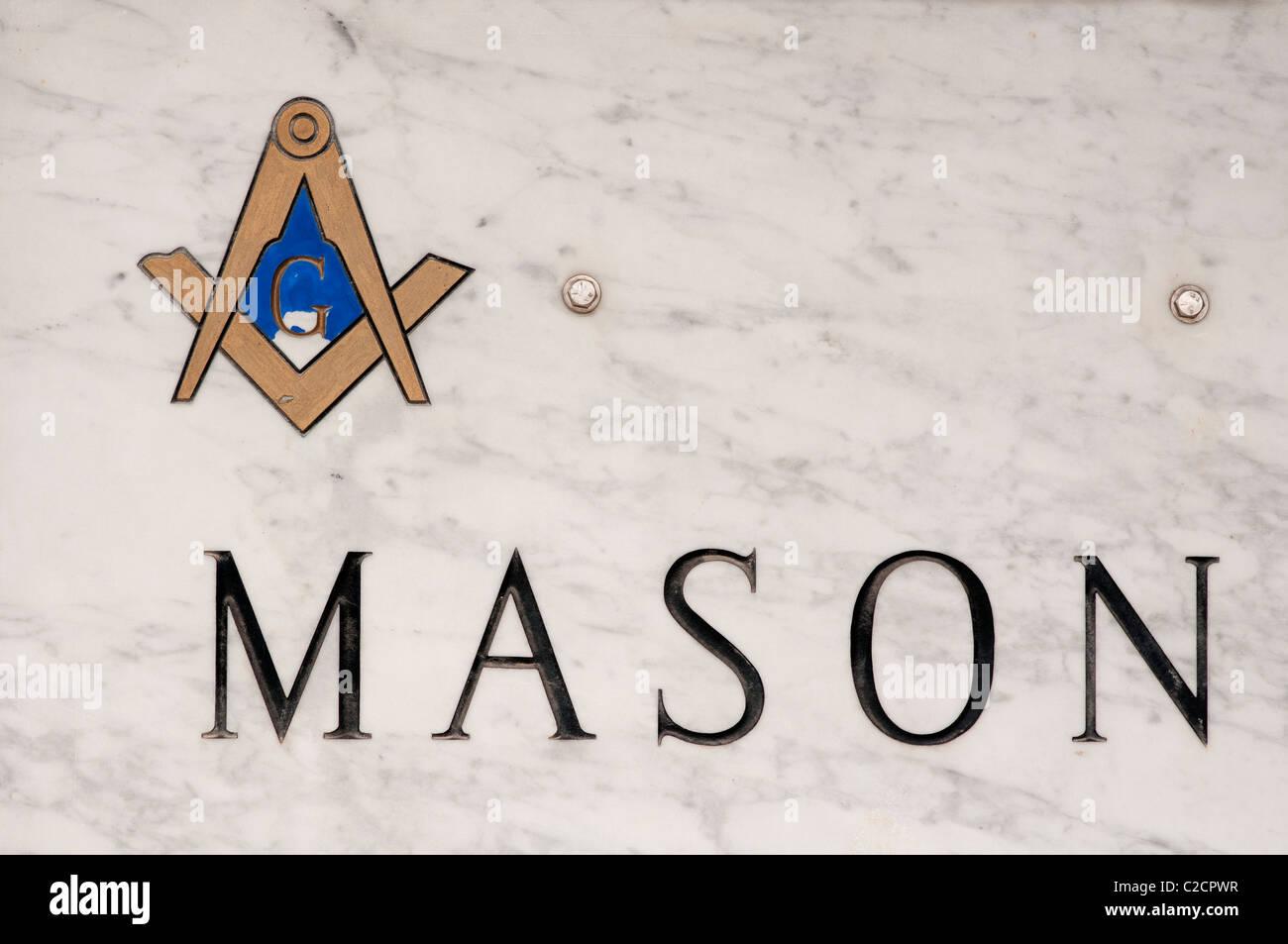 Masonic sign on marble. Stock Photo